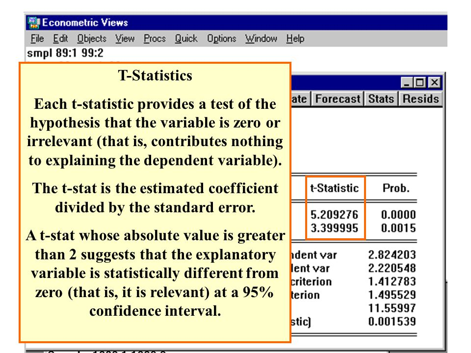 T-Statistics Each t-statistic provides a test of the hypothesis that the variable is zero or irrelevant (that is, contributes nothing to explaining th