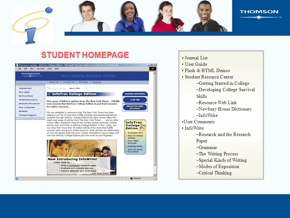 Journal List User Guide Flash & HTML Demos Student Resource Center –Getting Started in College –Developing College Survival Skills –Resource Web Link