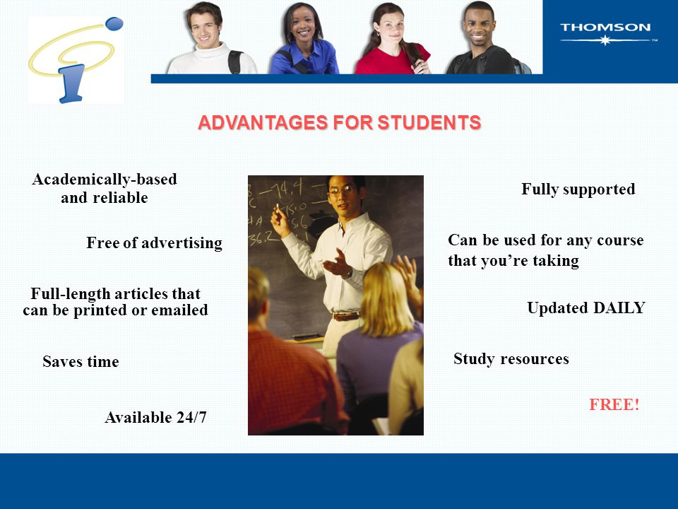 ADVANTAGES FOR STUDENTS Fully supported Can be used for any course that you're taking Updated DAILY FREE! Study resources Academically-based and relia