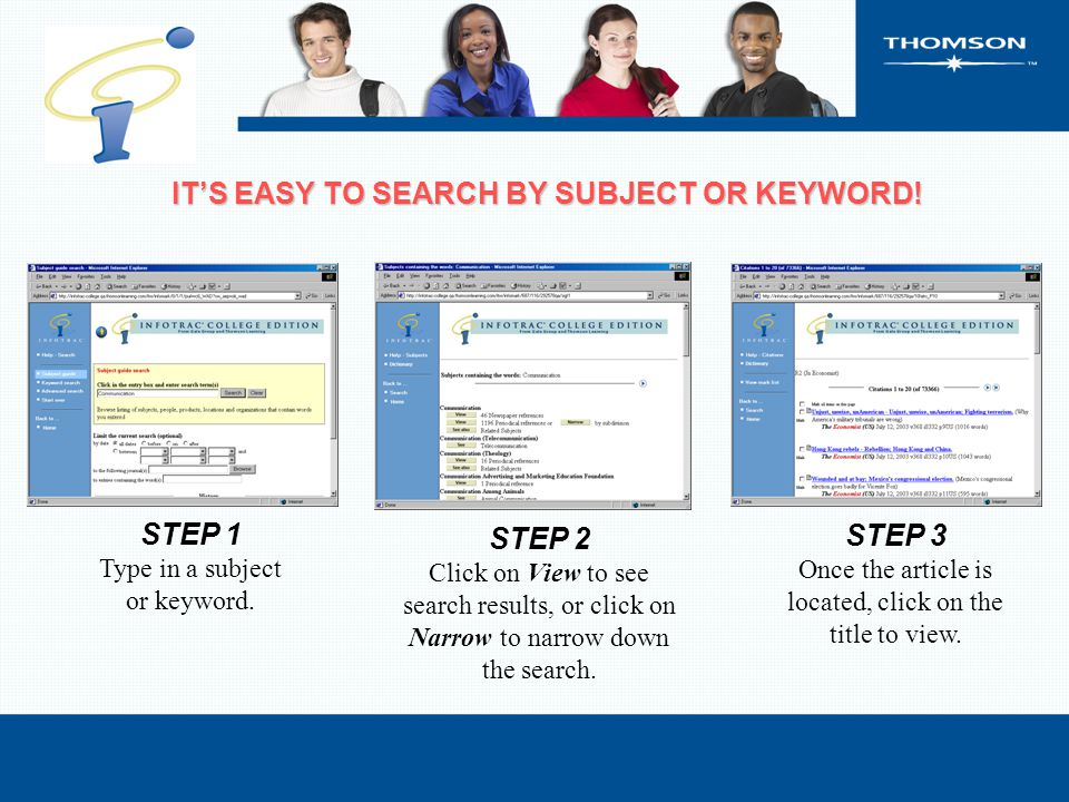 IT'S EASY TO SEARCH BY SUBJECT OR KEYWORD. IT'S EASY TO SEARCH BY SUBJECT OR KEYWORD.