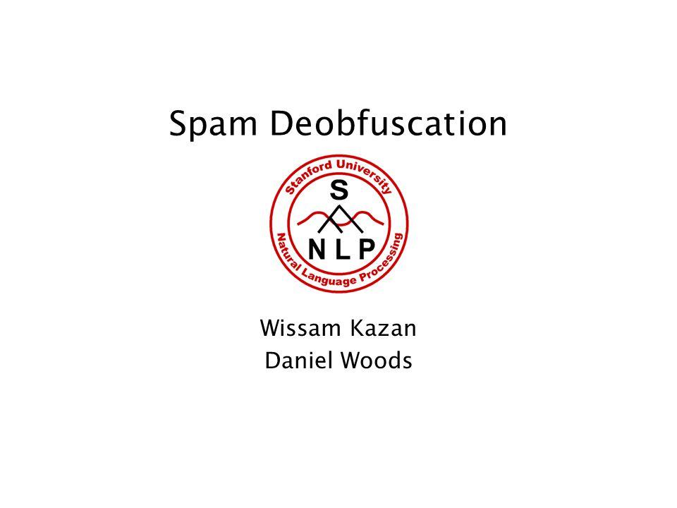 Spam Deobfuscation Wissam Kazan Daniel Woods