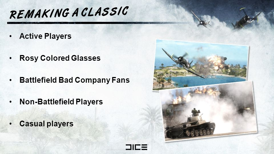 R E M A K I N G A C L A S S I C Active Players Rosy Colored Glasses Battlefield Bad Company Fans Non-Battlefield Players Casual players