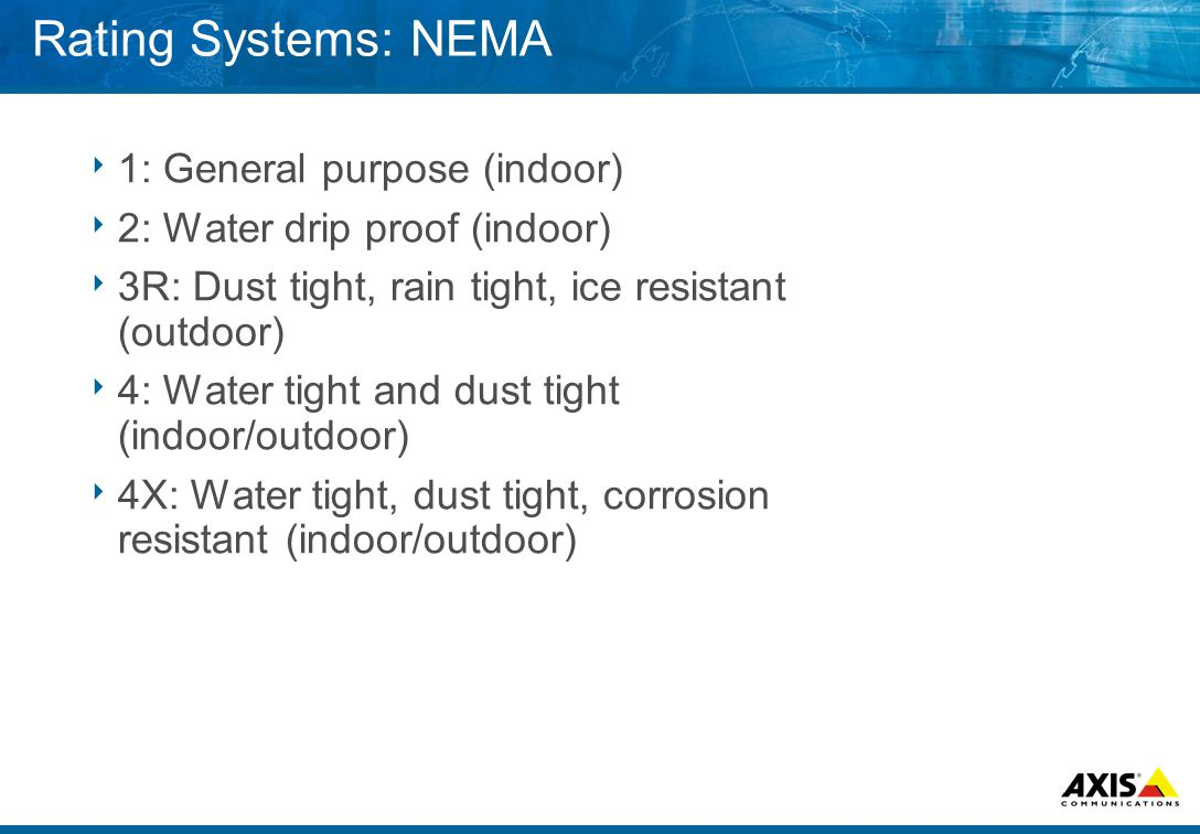 Rating Systems: NEMA  1: General purpose (indoor)  2: Water drip proof (indoor)  3R: Dust tight, rain tight, ice resistant (outdoor)  4: Water tight and dust tight (indoor/outdoor)  4X: Water tight, dust tight, corrosion resistant (indoor/outdoor)