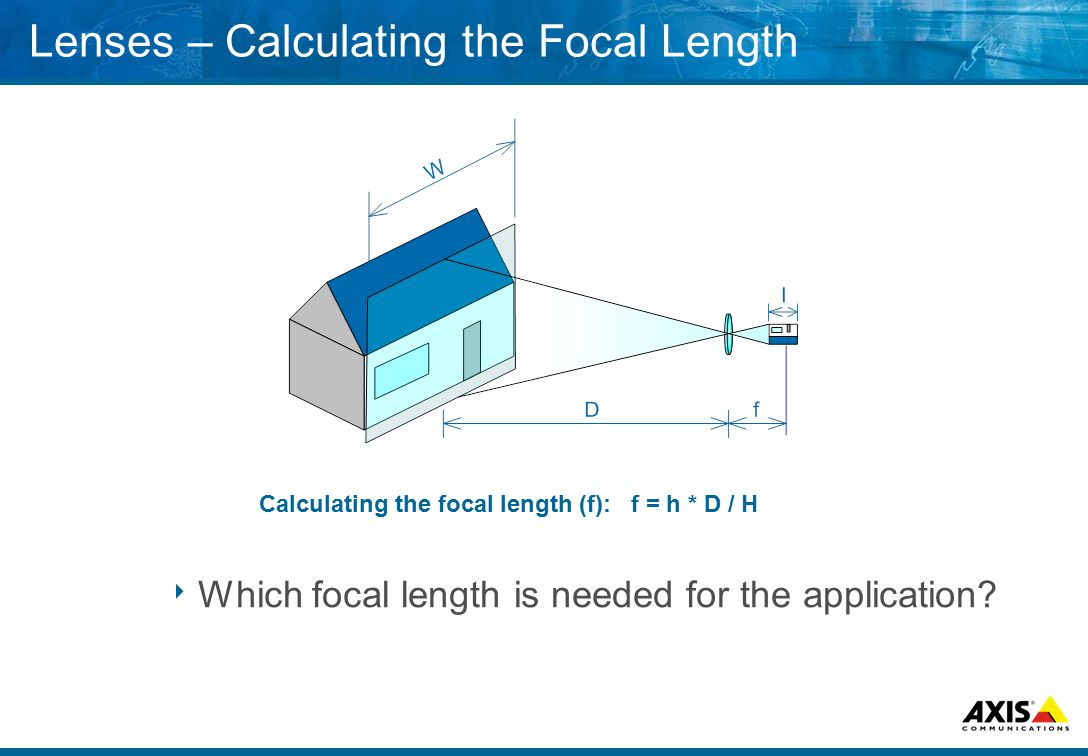 Lenses – Calculating the Focal Length  Which focal length is needed for the application.