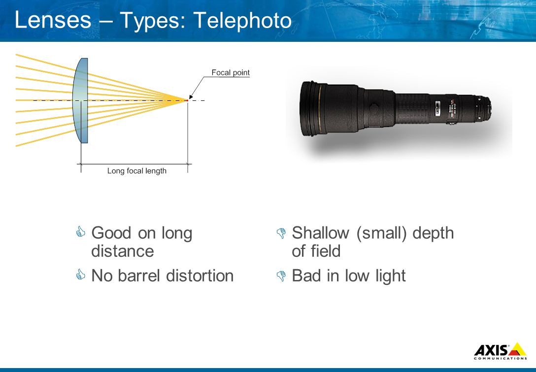 Lenses – Types: Telephoto  Good on long distance  No barrel distortion  Shallow (small) depth of field  Bad in low light