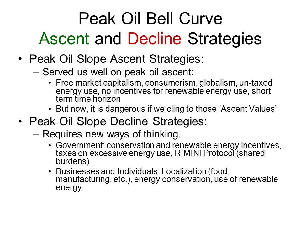 Peak Oil Bell Curve Ascent and Decline Strategies Peak Oil Slope Ascent Strategies: –Served us well on peak oil ascent: Free market capitalism, consum