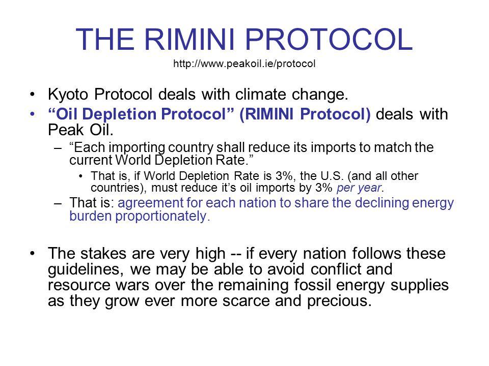 "THE RIMINI PROTOCOL http://www.peakoil.ie/protocol Kyoto Protocol deals with climate change. ""Oil Depletion Protocol"" (RIMINI Protocol) deals with Pea"