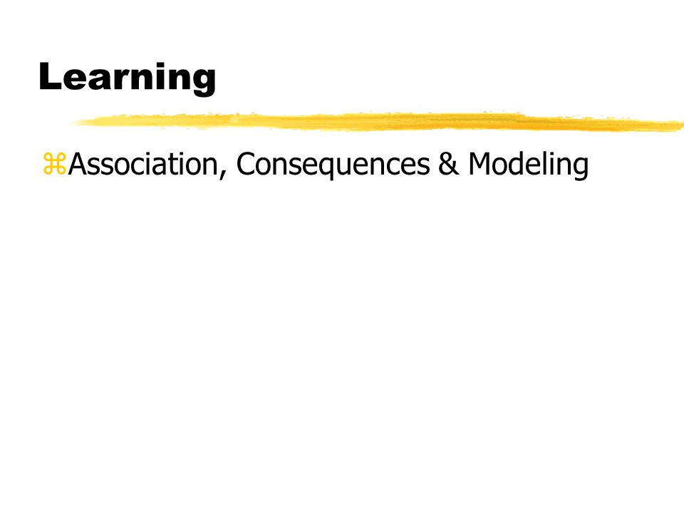 Learning zAssociation, Consequences & Modeling