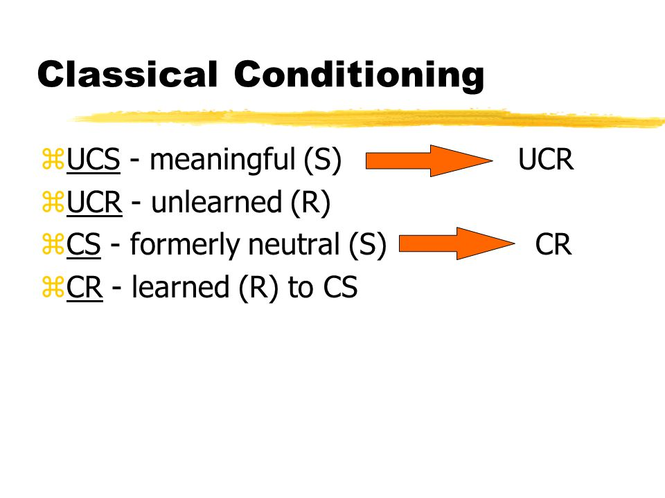 Classical Conditioning zUCS - meaningful (S) UCR zUCR - unlearned (R) zCS - formerly neutral (S) CR zCR - learned (R) to CS