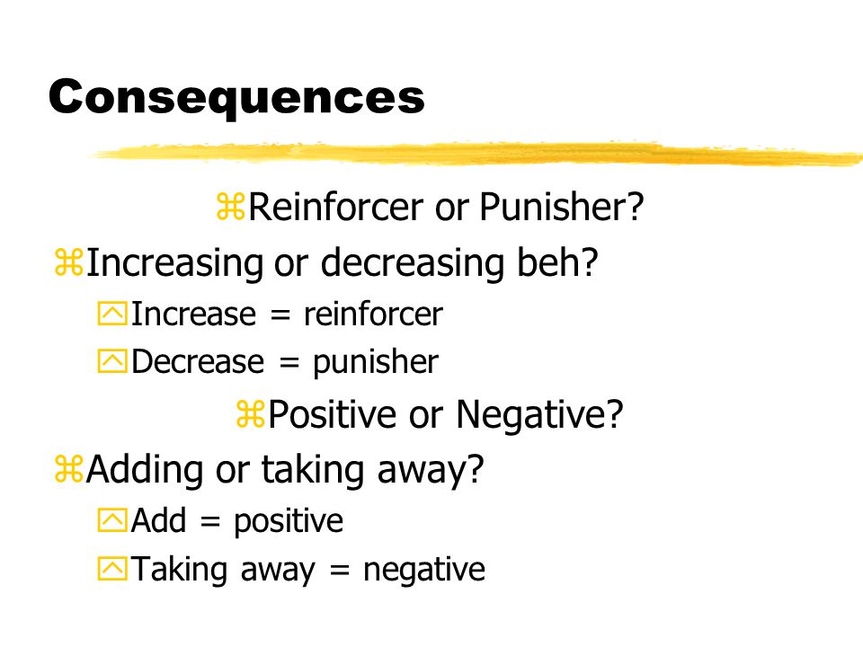 Consequences zReinforcer or Punisher.zIncreasing or decreasing beh.