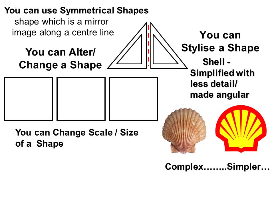 You can Stylise a Shape Shell - Simplified with less detail/ made angular Shell - Simplified with less detail/ made angular You can use Symmetrical Shapes shape which is a mirror image along a centre line Complex……..Simpler… You can Alter/ Change a Shape You can Change Scale / Size of a Shape