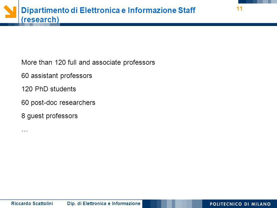 Riccardo Scattolini Dip. di Elettronica e Informazione 11 Dipartimento di Elettronica e Informazione Staff (research) More than 120 full and associate