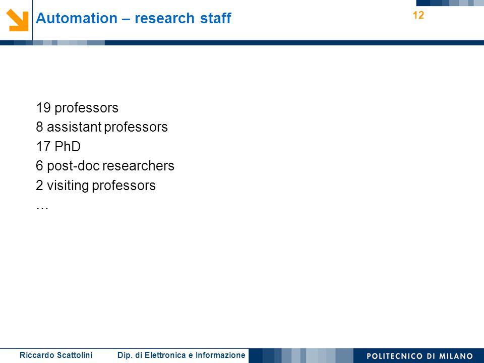 Riccardo Scattolini Dip. di Elettronica e Informazione 12 Automation – research staff 19 professors 8 assistant professors 17 PhD 6 post-doc researche