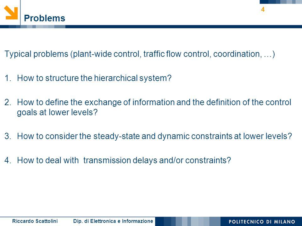 Riccardo Scattolini Dip. di Elettronica e Informazione 4 Problems Typical problems (plant-wide control, traffic flow control, coordination, …) 1.How t