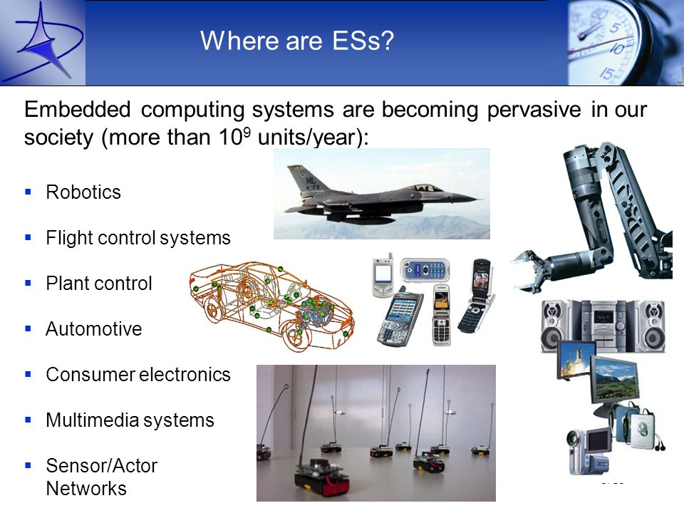 Paolo Pagano - RT Systems5/15  Robotics  Flight control systems  Plant control  Automotive  Consumer electronics  Multimedia systems  Sensor/Actor Networks Embedded computing systems are becoming pervasive in our society (more than 10 9 units/year): Where are ESs?