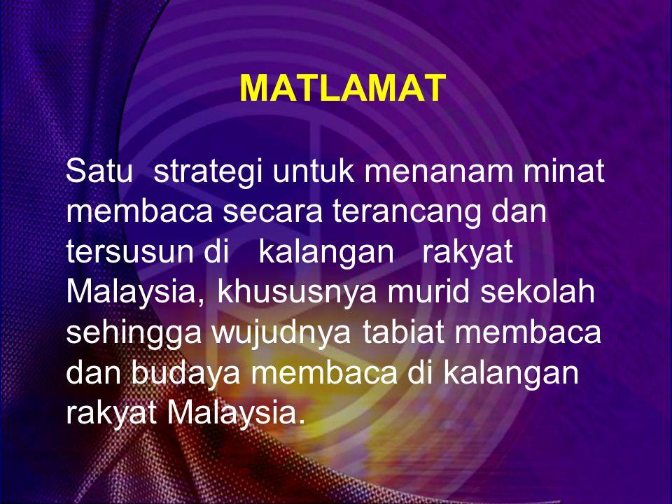 MATLAMAT Satu strategi untuk menanam minat membaca secara terancang dan tersusun di kalangan rakyat Malaysia, khususnya murid sekolah sehingga wujudnya tabiat membaca dan budaya membaca di kalangan rakyat Malaysia.