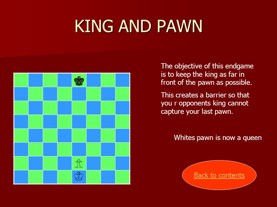 KING AND PAWN The objective of this endgame is to keep the king as far in front of the pawn as possible.