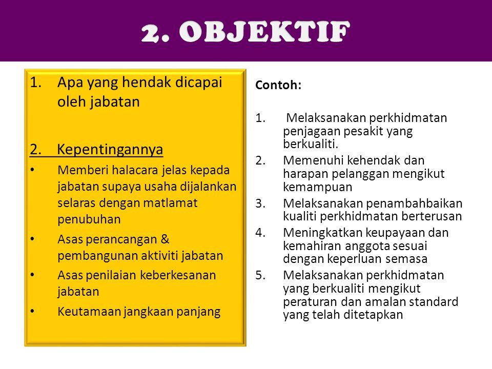 1.Apa yang hendak dicapai oleh jabatan 2. Kepentingannya Memberi halacara jelas kepada jabatan supaya usaha dijalankan selaras dengan matlamat penubuh