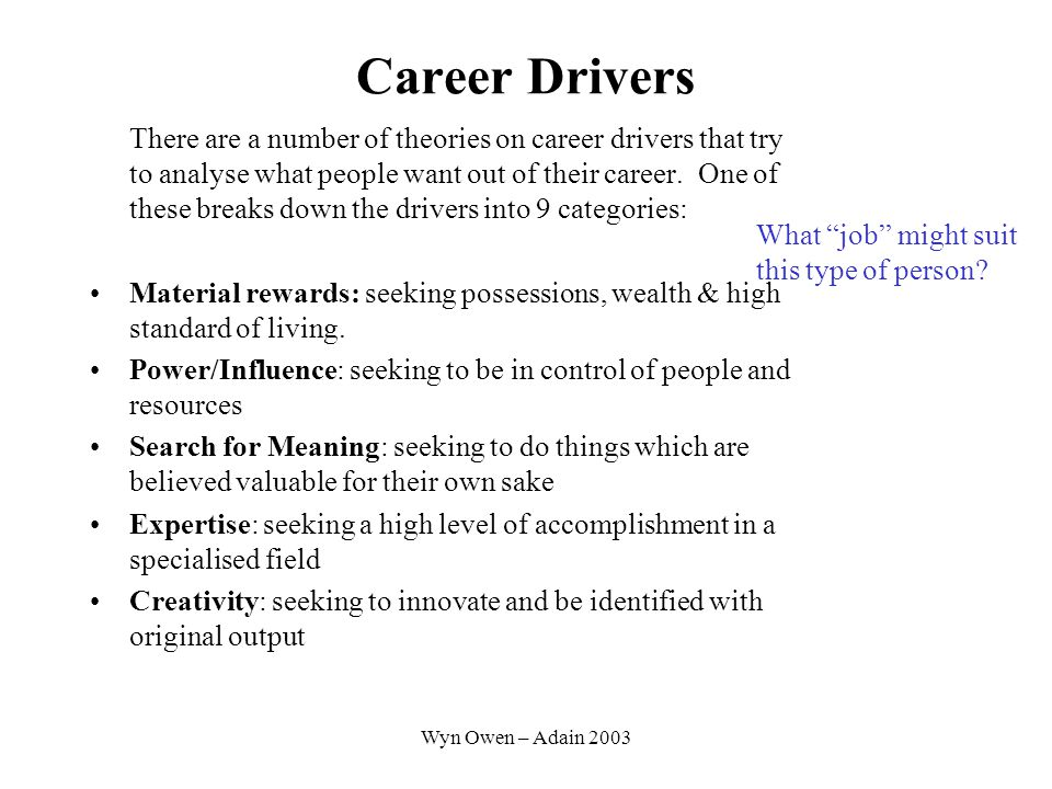 Wyn Owen – Adain 2003 Career Drivers Affiliation: seeking nourishing relationships with others Autonomy: seeking to be independent and able to make decisions for oneself Security: seeking a solid and predictable future Status: seeking to be recognised, admired, and respected by the community at large We are probably driven by a mixture of two or three of these – and we're not implying that any of these are better or worse than each other.