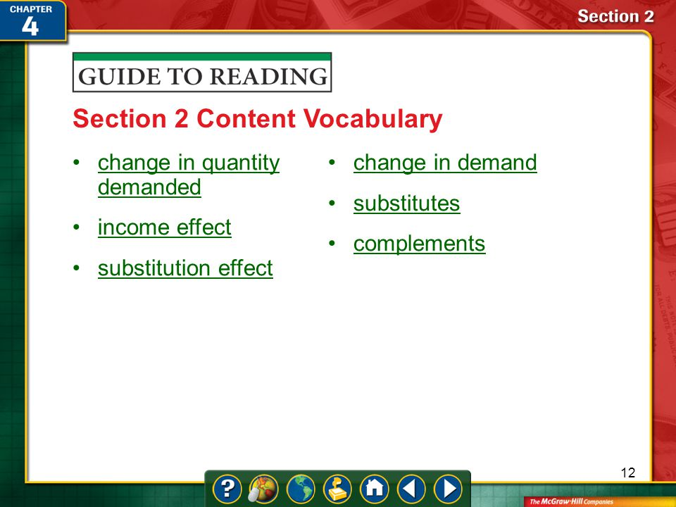 Section 2-Key Terms Section 2 Content Vocabulary change in quantity demandedchange in quantity demanded income effect substitution effect change in demand substitutes complements 12