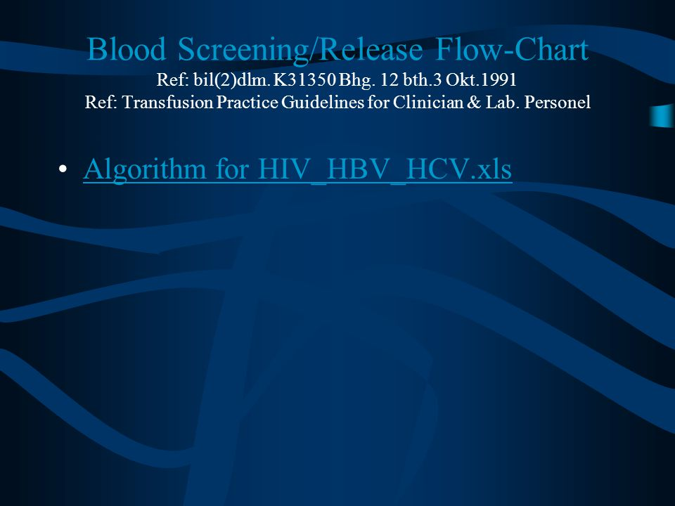 Blood Screening/Release Flow-Chart Ref: bil(2)dlm.