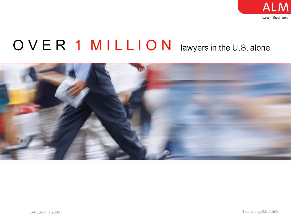 JANUARY   2005 T W I C E T H E G N P The legal industry is growing at Source: American Bar Association