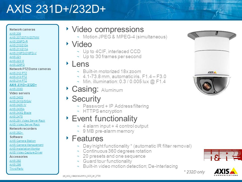AXIS 231D+/232D+  Video compressions ¬ Motion JPEG & MPEG-4 (simultaneous)  Video ¬ Up to 4CIF, interlaced CCD ¬ Up to 30 frames per second  Lens ¬