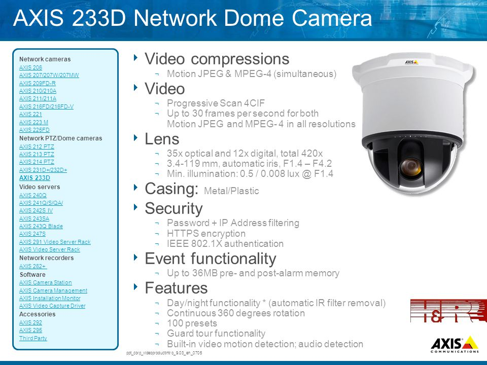 AXIS 233D Network Dome Camera  Video compressions ¬ Motion JPEG & MPEG-4 (simultaneous)  Video ¬ Progressive Scan 4CIF ¬ Up to 30 frames per second