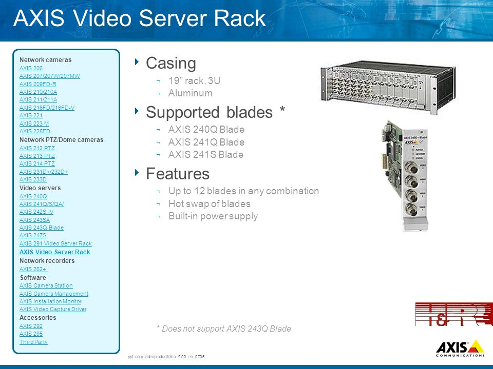 "AXIS Video Server Rack  Casing ¬ 19"" rack, 3U ¬ Aluminum  Supported blades * ¬ AXIS 240Q Blade ¬ AXIS 241Q Blade ¬ AXIS 241S Blade  Features ¬ Up t"