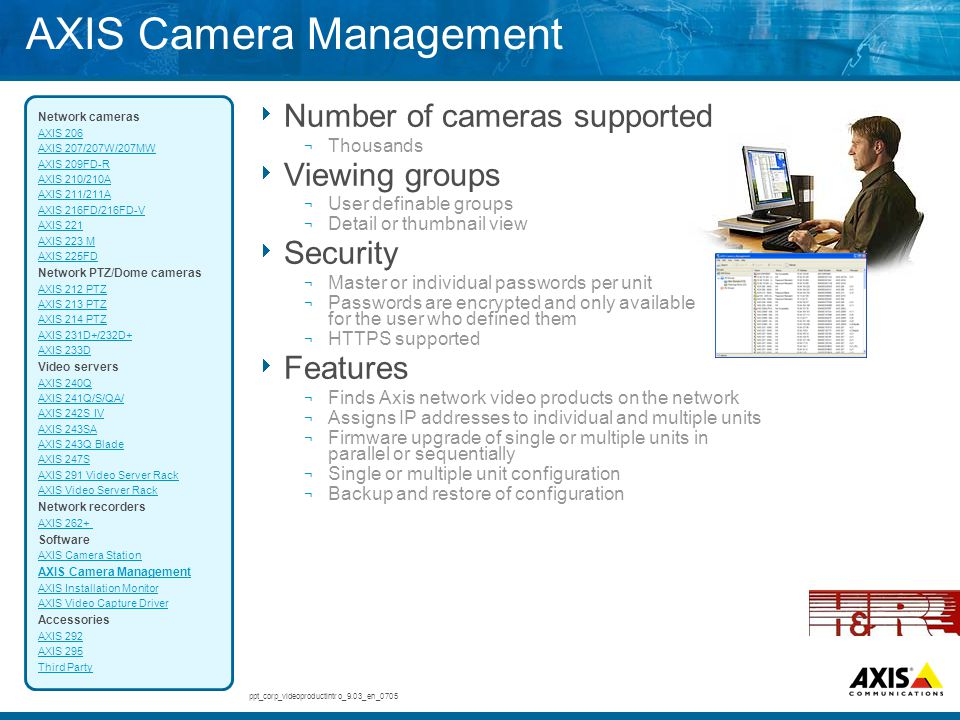  Number of cameras supported ¬ Thousands  Viewing groups ¬ User definable groups ¬ Detail or thumbnail view  Security ¬ Master or individual passwo