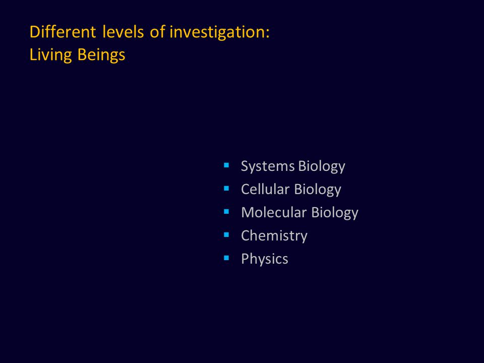 Different levels of investigation: Living Beings  Systems Biology  Cellular Biology  Molecular Biology  Chemistry  Physics