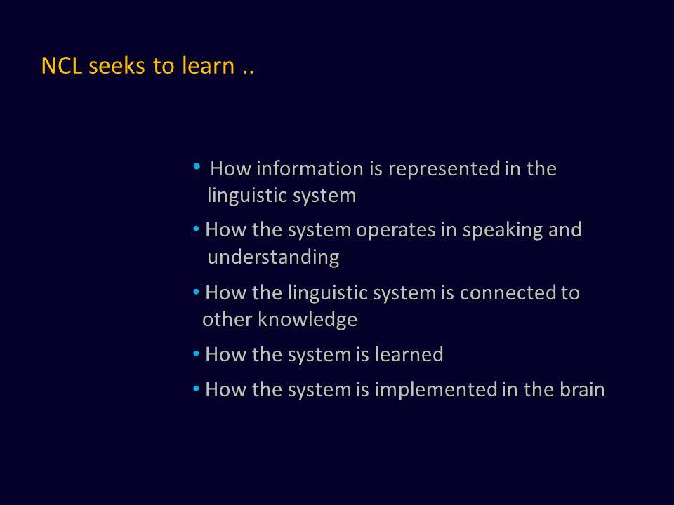 NCL seeks to learn.. How information is represented in the How information is represented in the linguistic system linguistic system How the system op