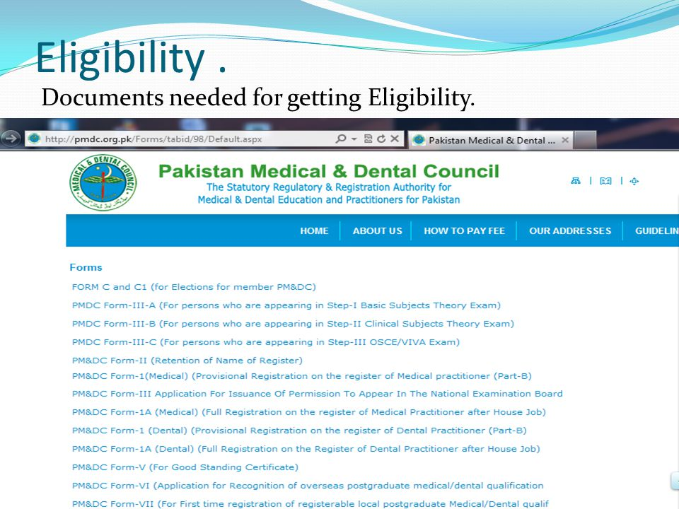 Eligibility. Documents needed for getting Eligibility.