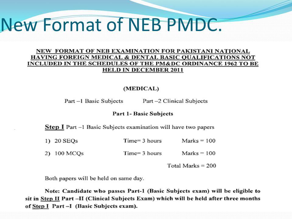 New Format of NEB PMDC.