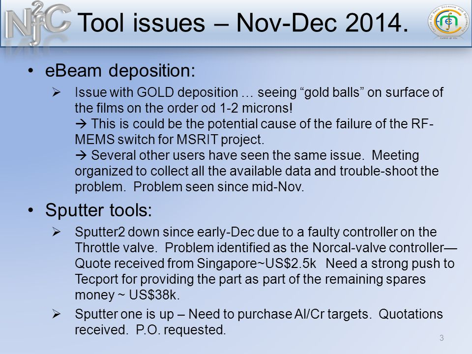 Tool issues – Nov-Dec 2014.