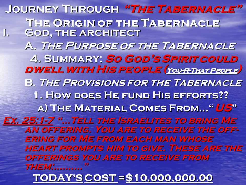 Journey Through The Tabernacle The Origin of the Tabernacle I.God, the architect A.