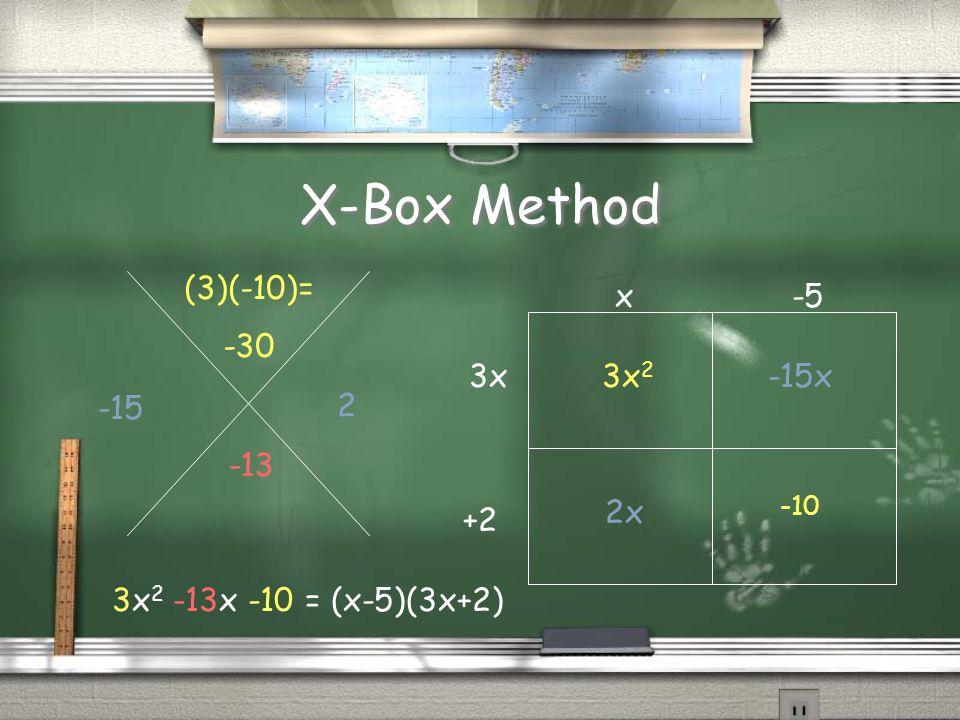 X-Box Method -13 (3)(-10)= -30 -15 2 -10 -15x 2x 3x 2 x-5 3x +2 3x 2 -13x -10 = (x-5)(3x+2)
