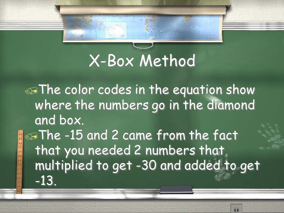 X-Box Method / The color codes in the equation show where the numbers go in the diamond and box. / The -15 and 2 came from the fact that you needed 2