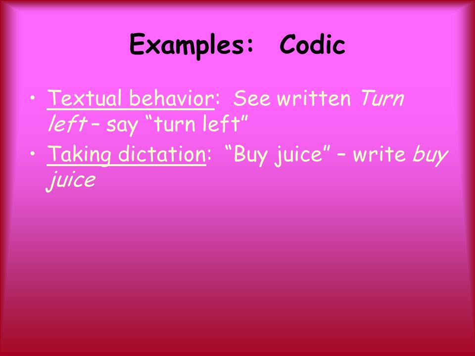 "Examples: Codic Textual behavior: See written Turn left – say ""turn left"" Taking dictation: ""Buy juice"" – write buy juice"