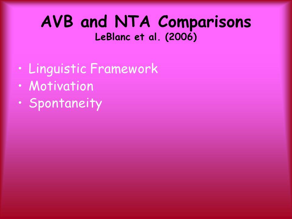 AVB and NTA Comparisons LeBlanc et al. (2006) Linguistic Framework Motivation Spontaneity