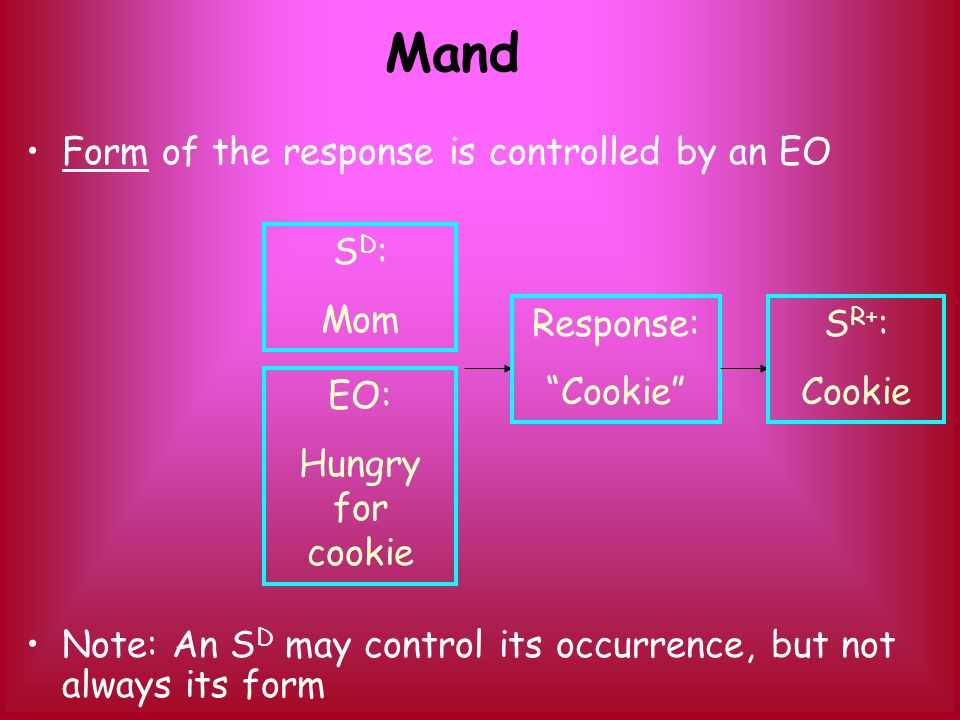 OperantControlling variableReinforcement Mand EO - form SD - occurrence Specific to each mand, related to current MO