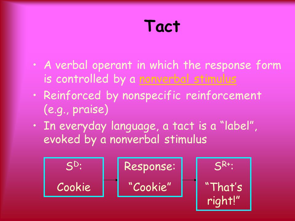 Tact A verbal operant in which the response form is controlled by a nonverbal stimulus Reinforced by nonspecific reinforcement (e.g., praise) In every