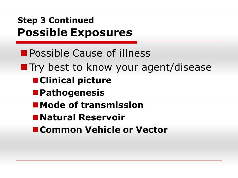 Step 3 Continued Possible Exposures Possible Cause of illness Try best to know your agent/disease Clinical picture Pathogenesis Mode of transmission Natural Reservoir Common Vehicle or Vector