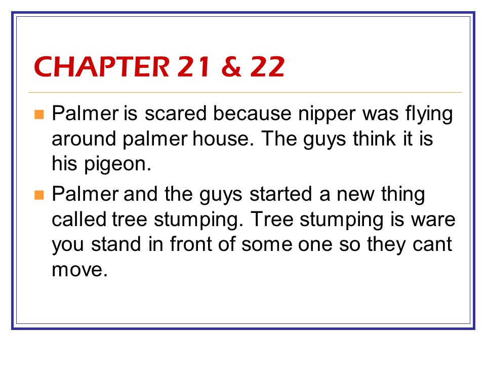 CHAPTER 21 & 22 Palmer is scared because nipper was flying around palmer house.