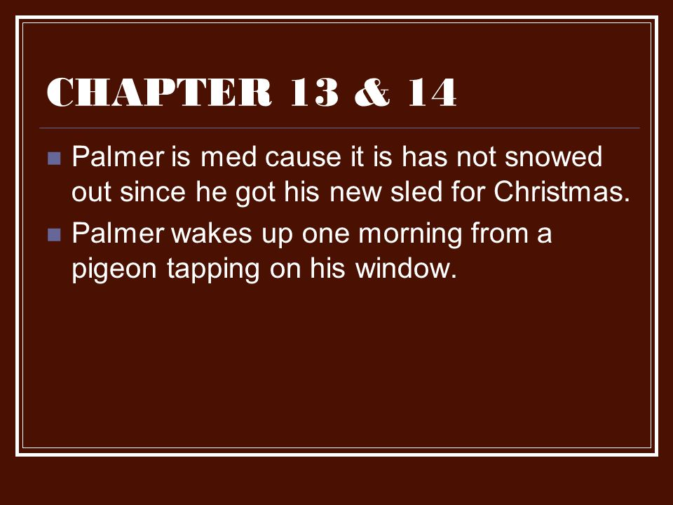 CHAPTER 13 & 14 Palmer is med cause it is has not snowed out since he got his new sled for Christmas. Palmer wakes up one morning from a pigeon tappin