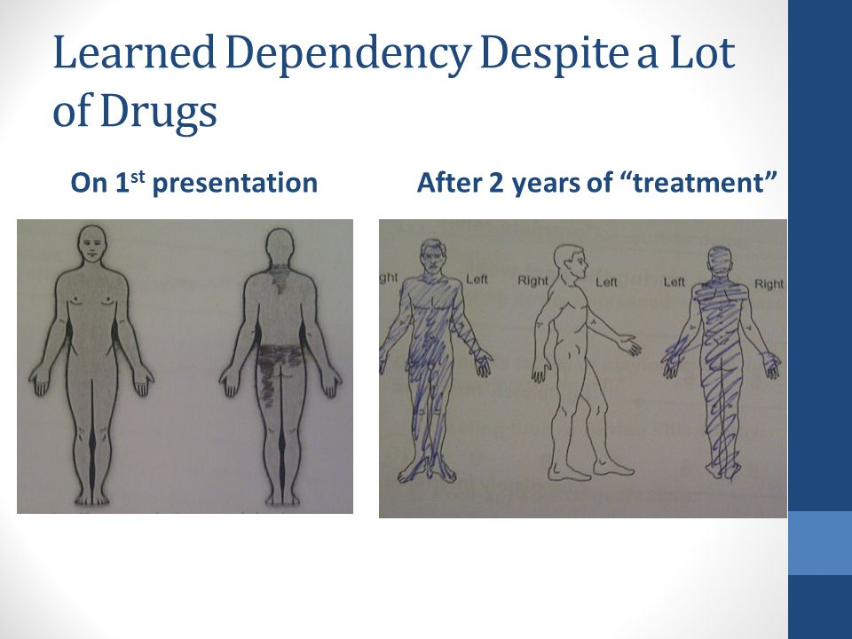 Learned Dependency Despite a Lot of Drugs On 1 st presentationAfter 2 years of treatment
