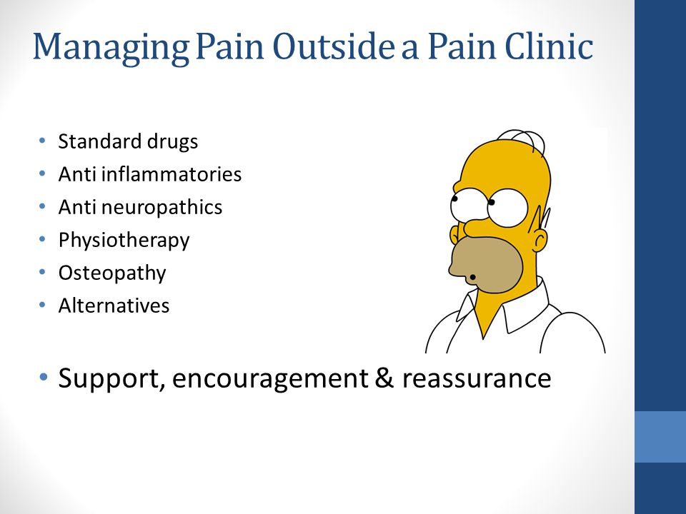 Managing Pain Outside a Pain Clinic Standard drugs Anti inflammatories Anti neuropathics Physiotherapy Osteopathy Alternatives Support, encouragement & reassurance