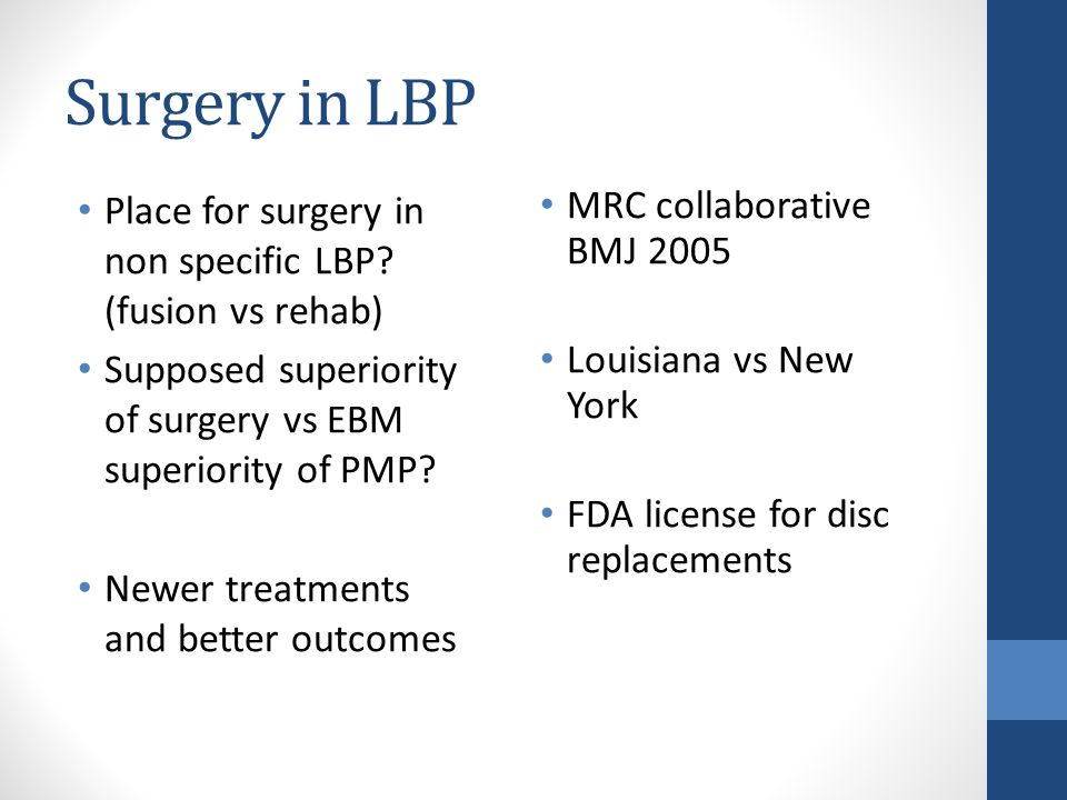 Surgery in LBP Place for surgery in non specific LBP.
