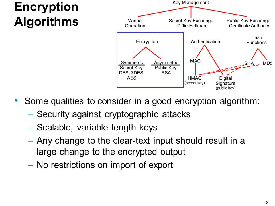 12 Encryption Algorithms Some qualities to consider in a good encryption algorithm: –Security against cryptographic attacks –Scalable, variable length