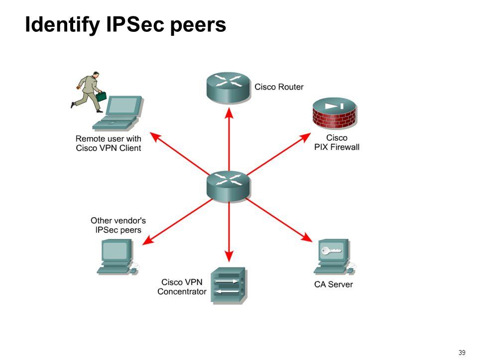 39 Identify IPSec peers